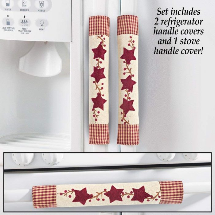 Red Star Pattern Appliance Handle Covers