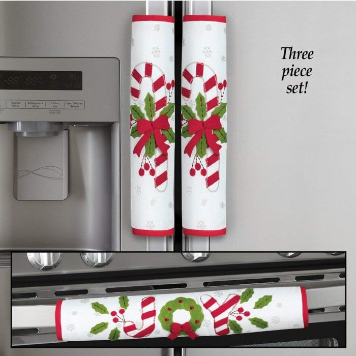 Red and White Candy Cane Appliance Handle Covers