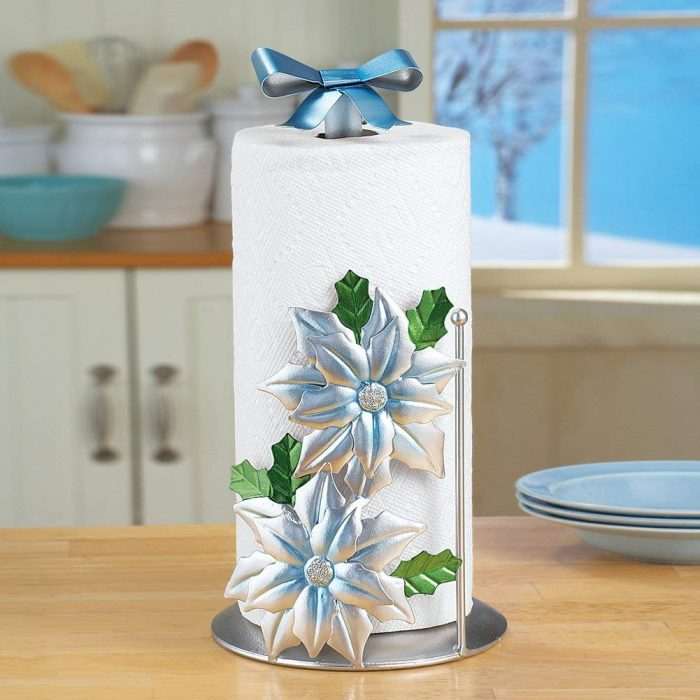 Silver Poinsettia Paper Towel Holder