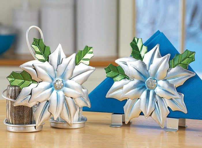 Silver Poinsettia Serveware Accessory Set