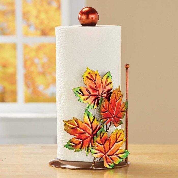 Unique Fall Leaves Metallic Paper Towel Holder