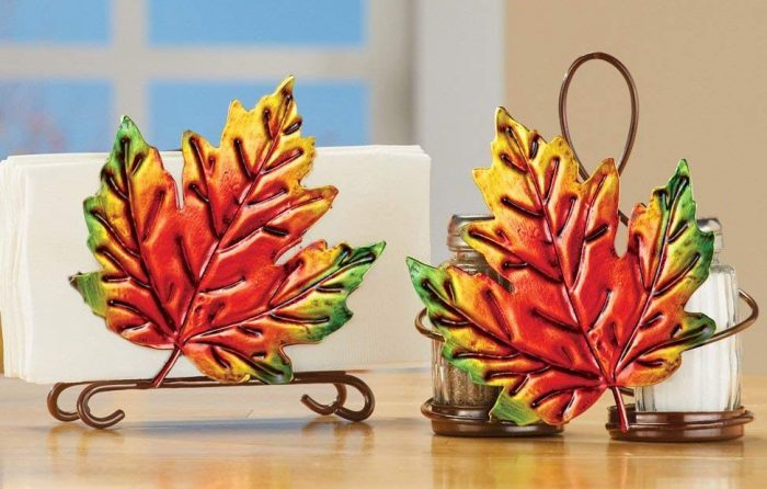 Unique Fall Leaves Metallic Serveware Accessory Set