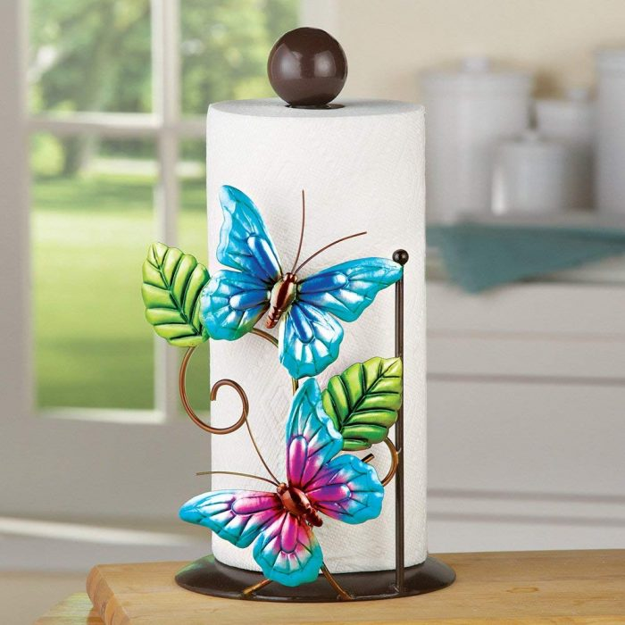Whimsical Blue Butterfly Paper Towel Holder