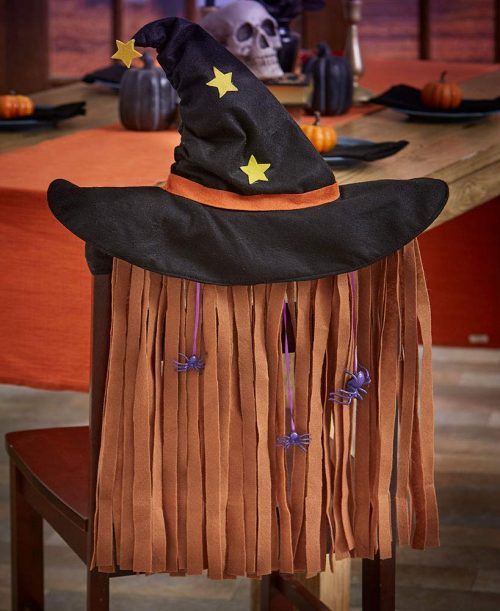 Witch Hat Hair with Spiders Halloween Chair Cover