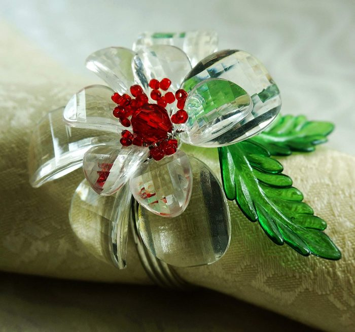 Acrylic Clear Flower Napkin Ring