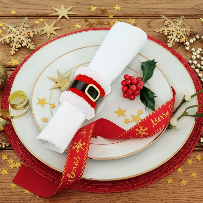 Black and Red Santa Belt Design Napkin Rings