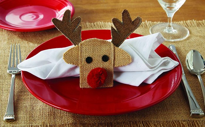 Brown Reindeer Pattern Napkin Ring