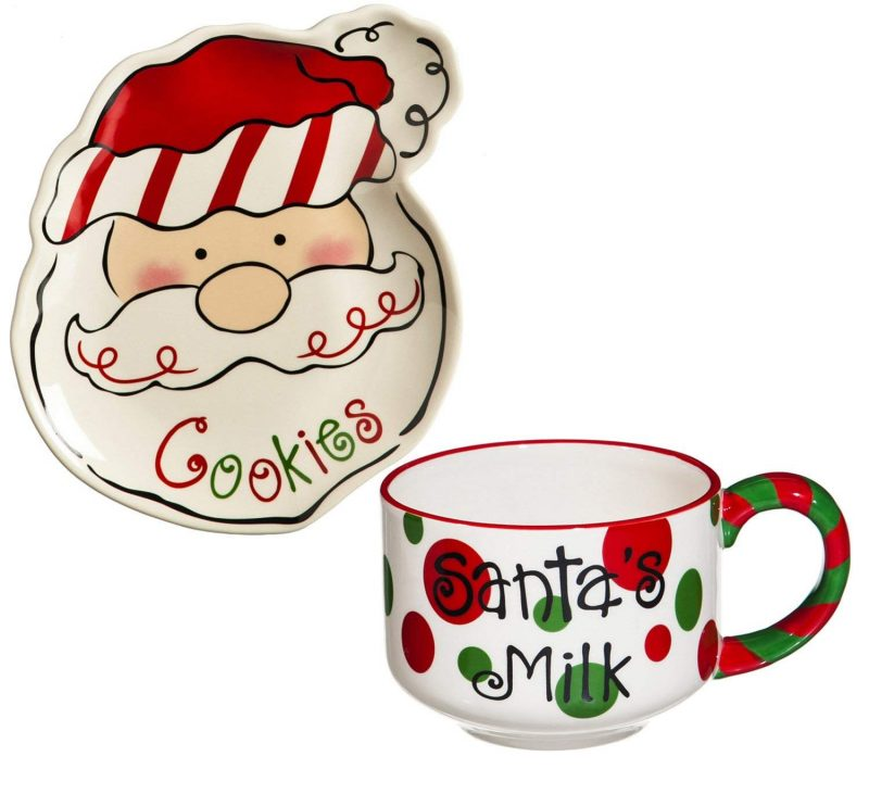 Ceramic Cookies for Santa Plate and Mug Set