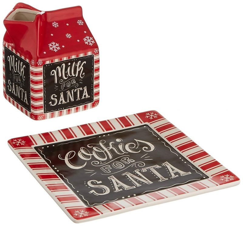Ceramic Milk and Cookies for Santa Set