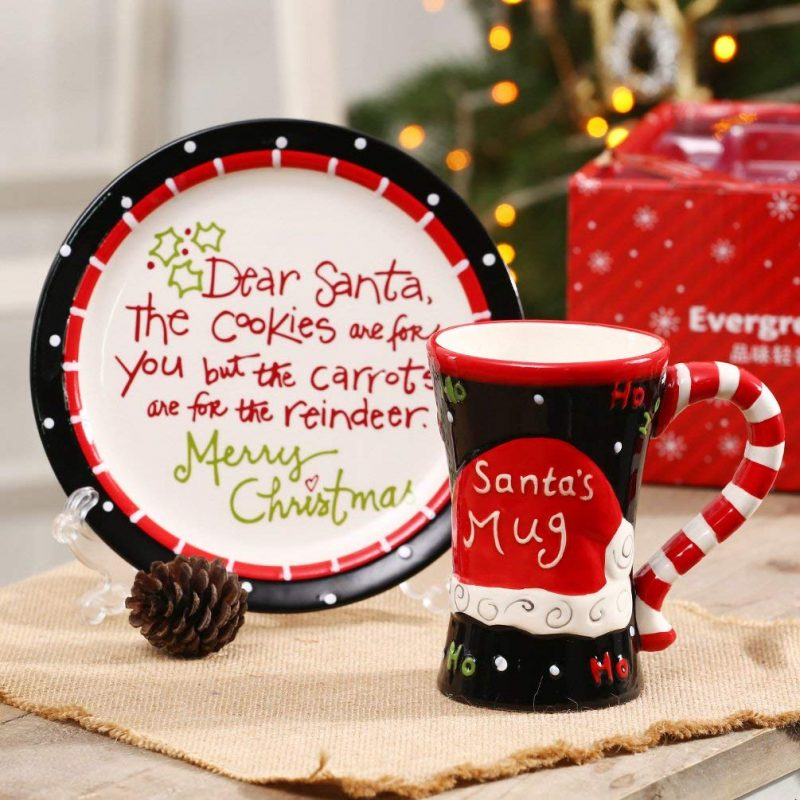 Christmas Cookies & Cocoa for Santa Gift Snack Plate and Cup Set