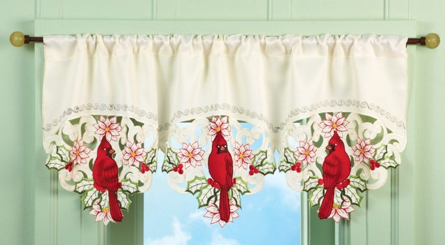 Christmas Embroidered Cardinal Window Valance