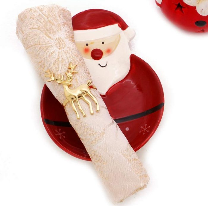 Classy Gold Design Reindeer Napkin Rings