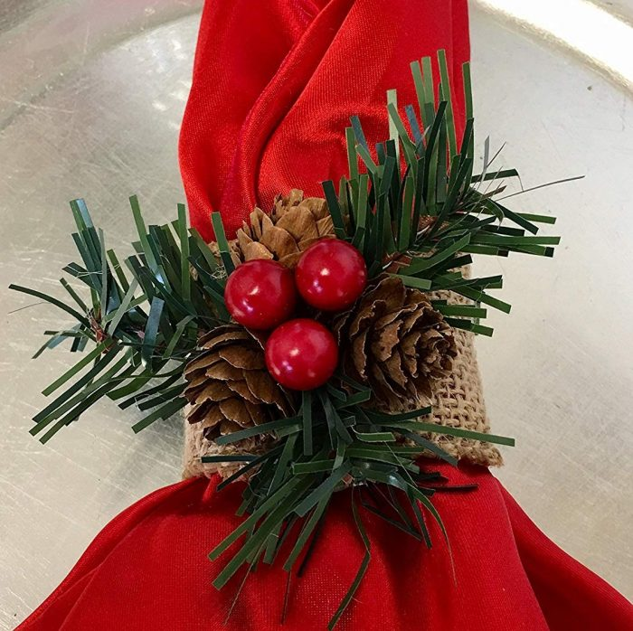Cute Christmas Napkin Ring-Burlap with Berries