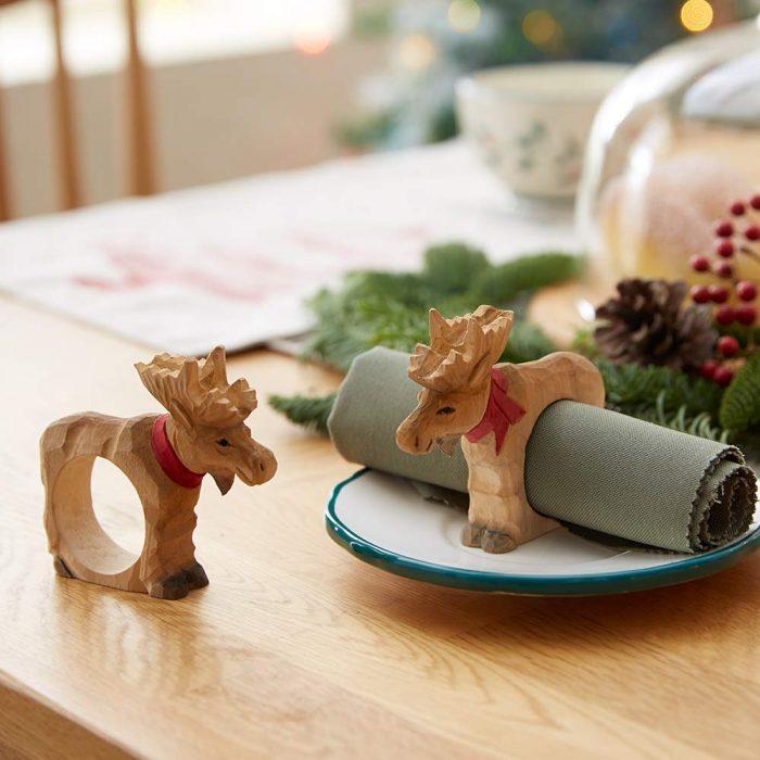 Handmade Wooden Reindeer Napkin Rings