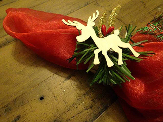 Red and Gold Reindeer Napkin Rings