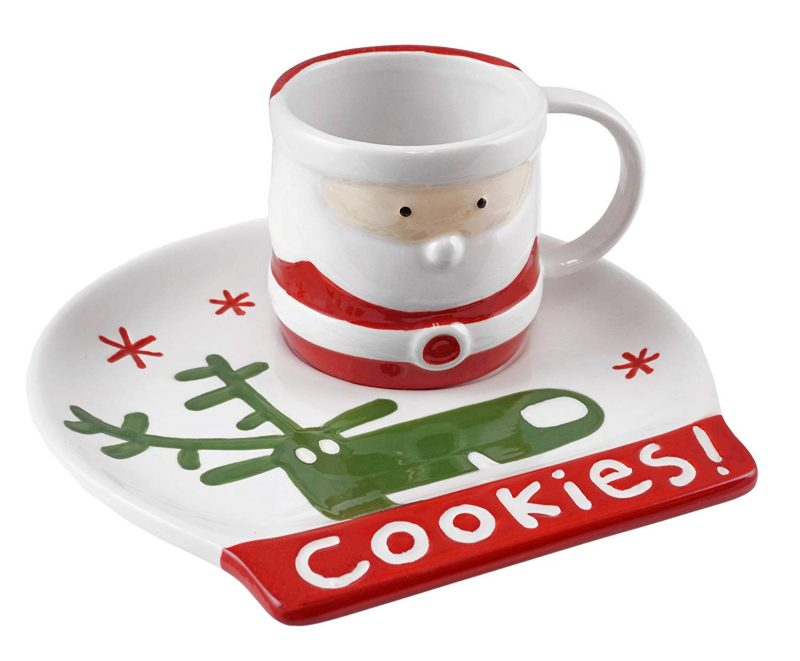 Santa Claus with Rudolph Happy Holidays Mug & Plate Set