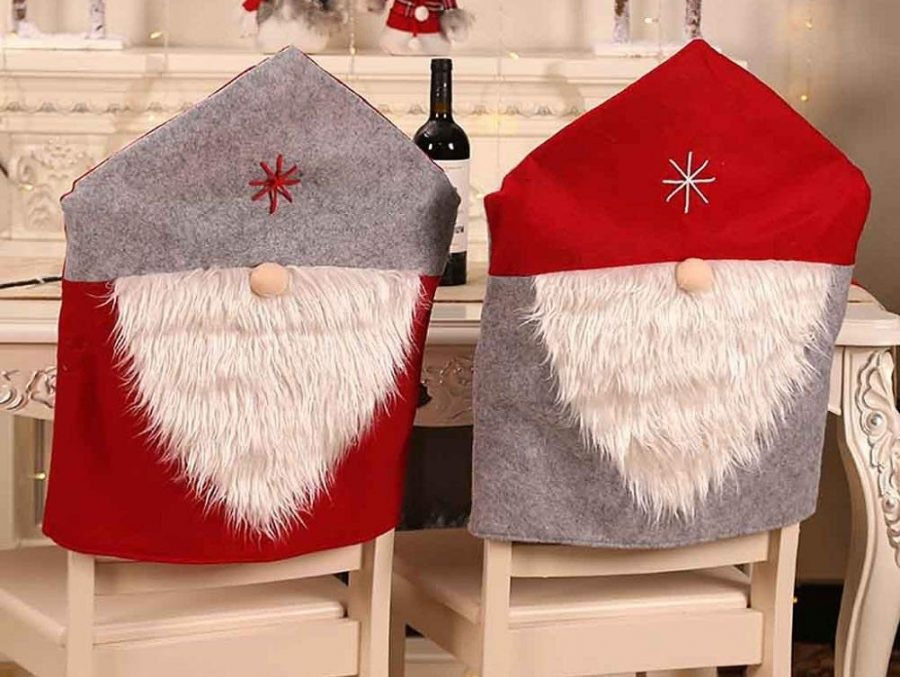 Red Grey Santa Claus Hat with White Beard Slipcovers Suits Chair Back Cover
