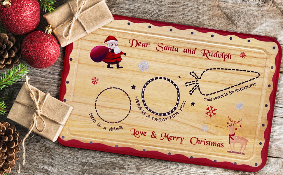 Santa Treat Board Wooden Tray Plate Platter Mat